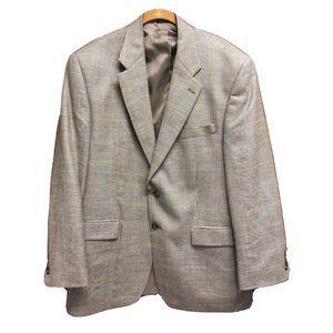 Ralph Lauren Mens Sport Coat Beige Blue Check 44R